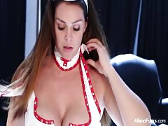 Busty nurse Alison toys her wet pussy